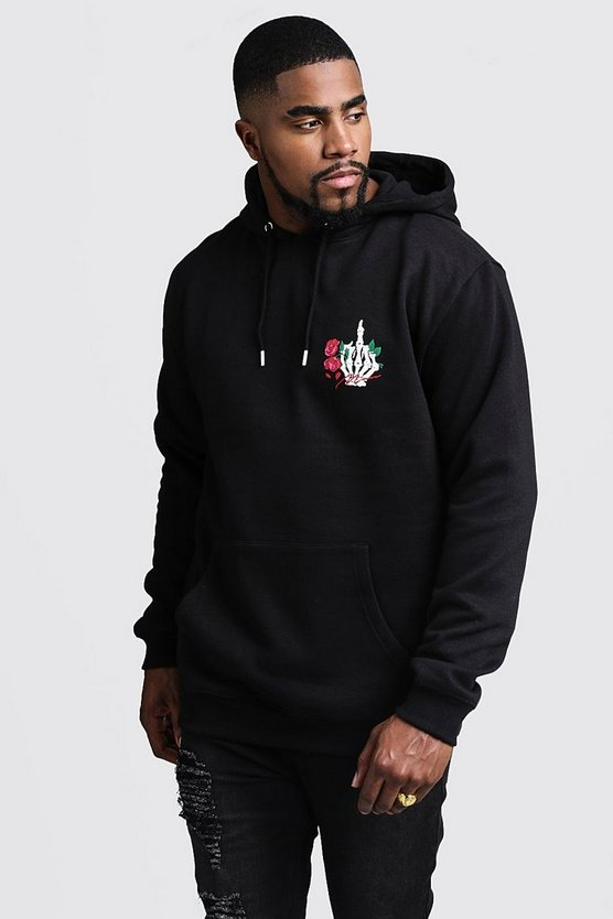 Big And Tall MAN Script Skeleton Print Hoodie