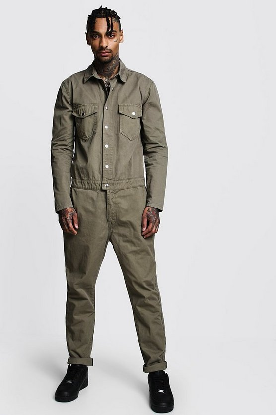 Mens Khaki Cotton Twill Utility Boiler Suit