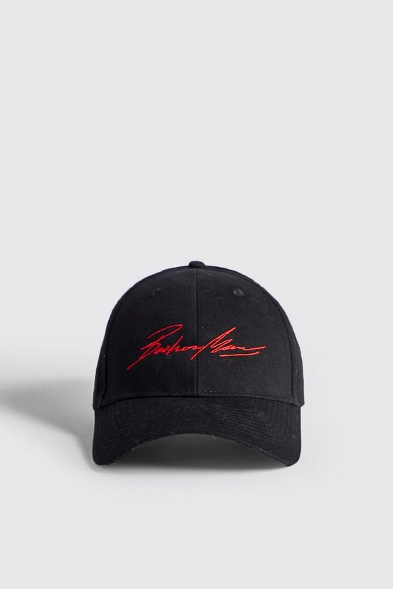 Red Embroidery Boohoo MAN Cap