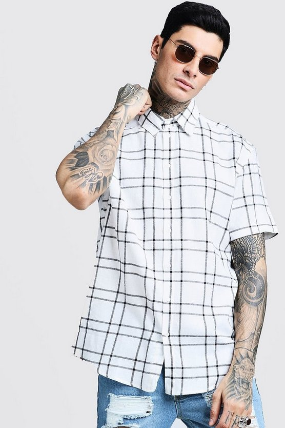 Short Sleeve Oversized Check Shirt