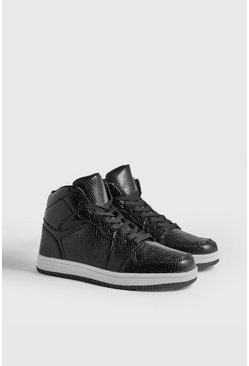 Mens Black Faux Snake Detail Hi Top Sneakers