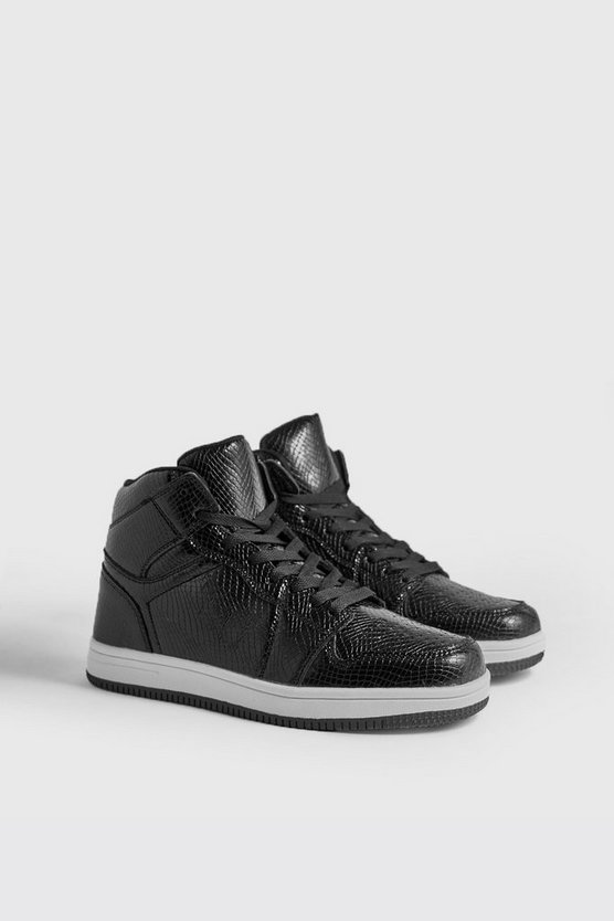 Faux Snake Detail Hi Top Sneakers