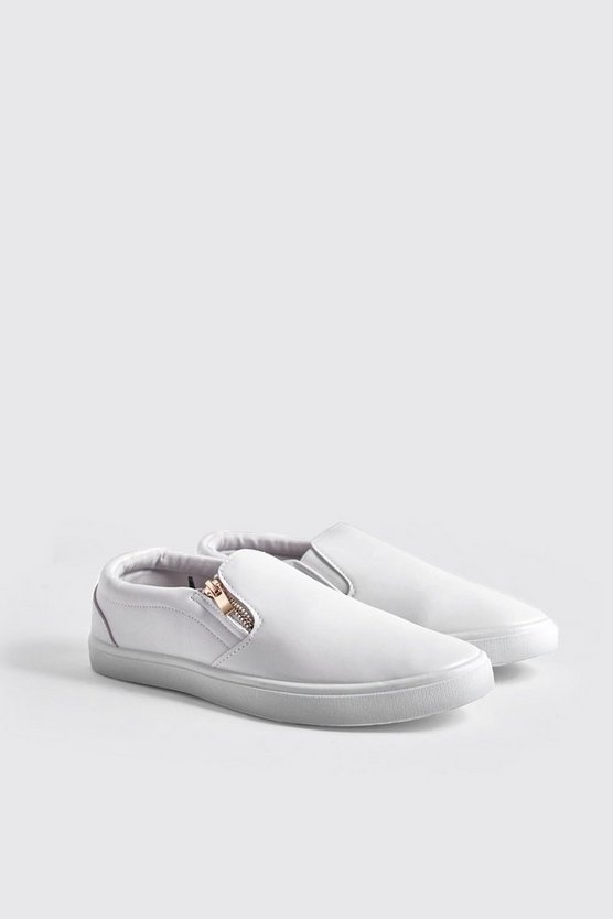 Zip Detail Slip On Trainers