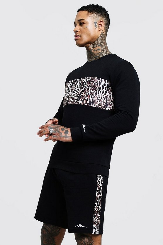Mens Black Leopard Print Panelled Short Tracksuit