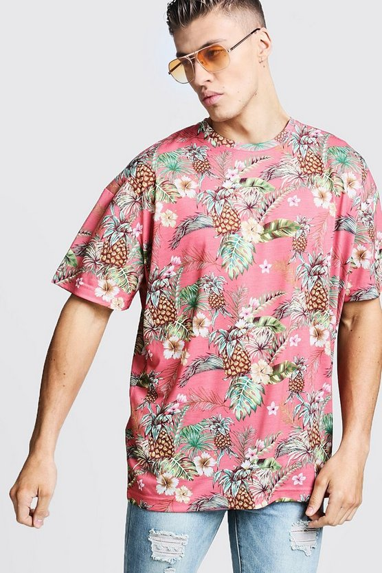 Oversized Tropical Print T-Shirt