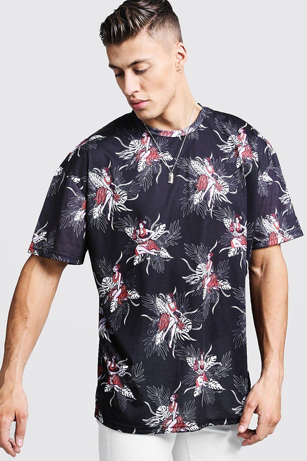8a19bcadd29 Oversized T-Shirt mit Hawaii-Print - boohooMAN