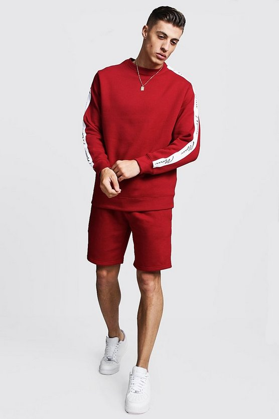 MAN Signature Tape Sweater Short Tracksuit