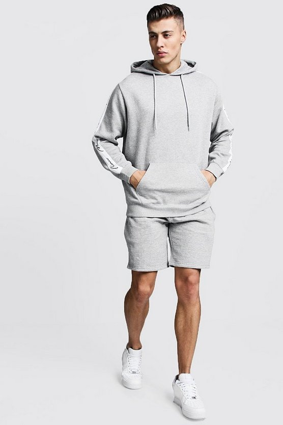 MAN Signature Tape Hooded Short Tracksuit