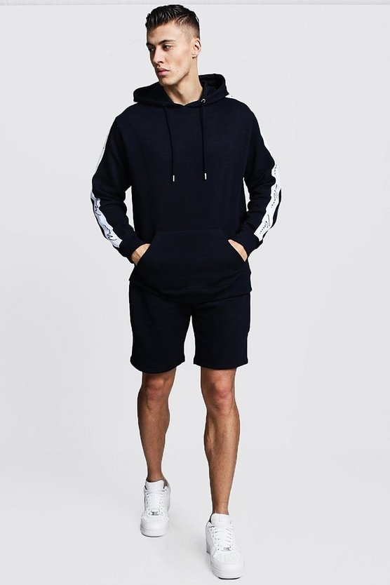 Mens Navy MAN Signature Tape Hooded Short Tracksuit