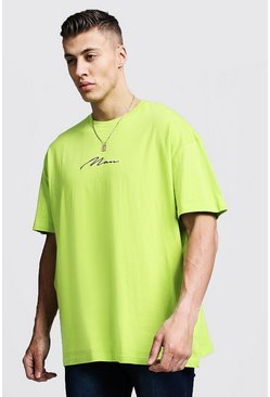 Mens Lime Oversized MAN Signature Embroidered T-Shirt