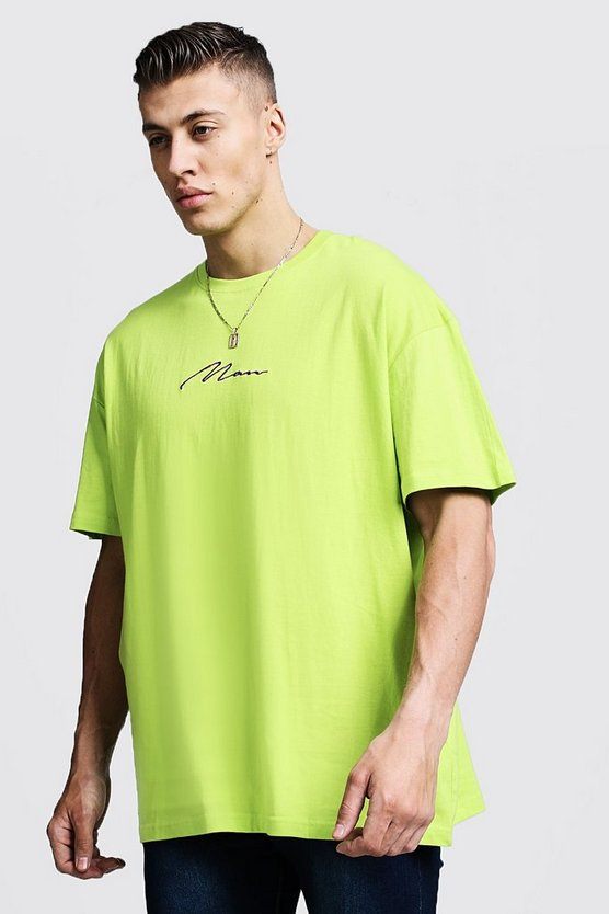 Oversized MAN Signature Embroidered T-Shirt
