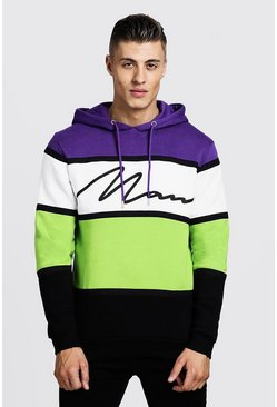 Sweat à capuche colour block avec bande signature MAN, Néon, Homme