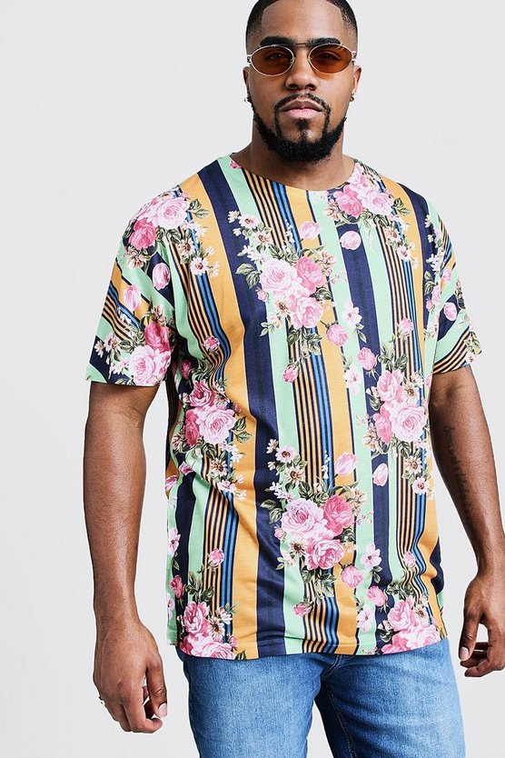 Big & Tall Vertical Stripe / Floral Print Jersey Tee