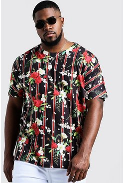 Mens Black Big & Tall Floral Vertical Stripe Jersey Tee