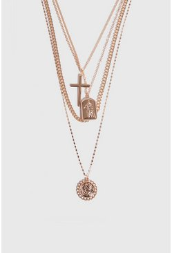 Gold 4 Layer Chain and Pendant Necklace
