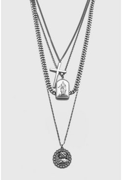 Silver 4 Layer Chain and Pendant Necklace
