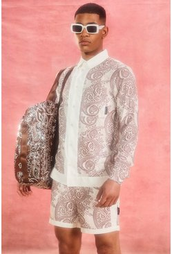Ecru Long Sleeve Viscose Paisley Border Shirt
