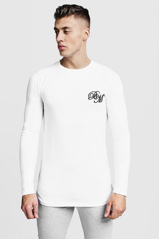 Longline Fitted Curved Hem Long Sleeve Tee