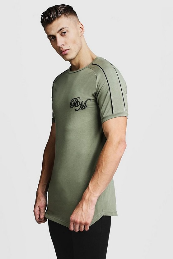 Mens Olive Muscle Fit BM Tee With Piping