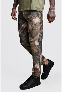 Mens Brown Printed Camo Skinny Fit Pants