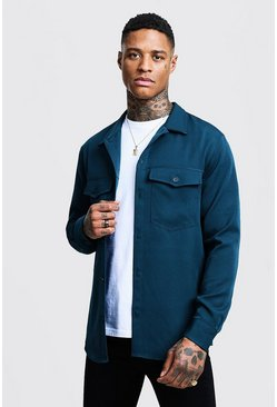 Teal Smart Utility Shirt Jacket