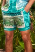 Mid Length Satin Bandana Shorts, Mint