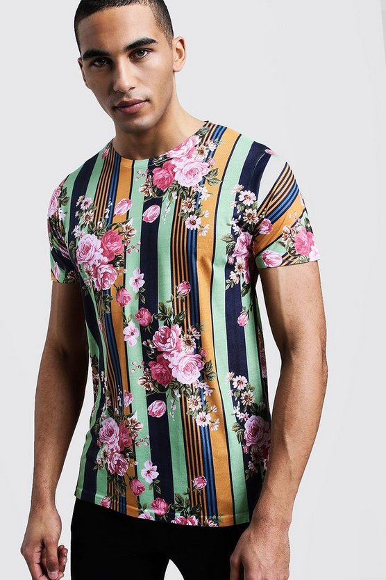 Mens Multi Vertical Stripe Floral Print Regular Jersey Tee