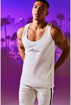 Mens White MAN Signature Basic Vest