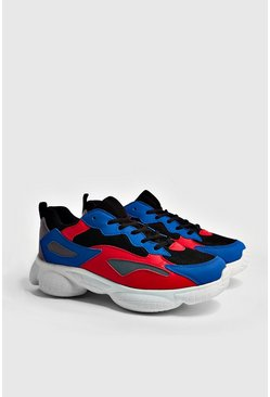 Mens Cobalt Bubble Sneakers With Contrast Panels