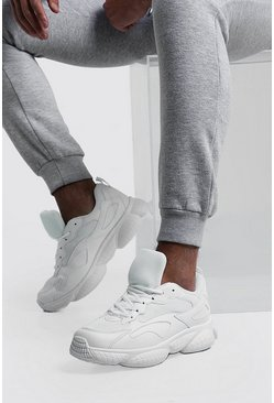 Mens White Mesh Detail Bubble Sneaker