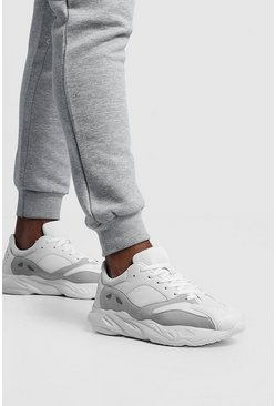 Mens White Mix Material Chunky Sneaker