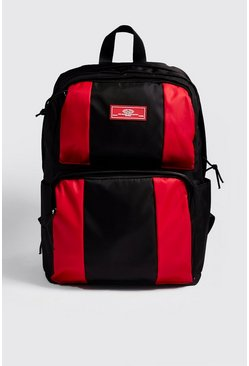 Mens Black MAN Colour Block Backpack