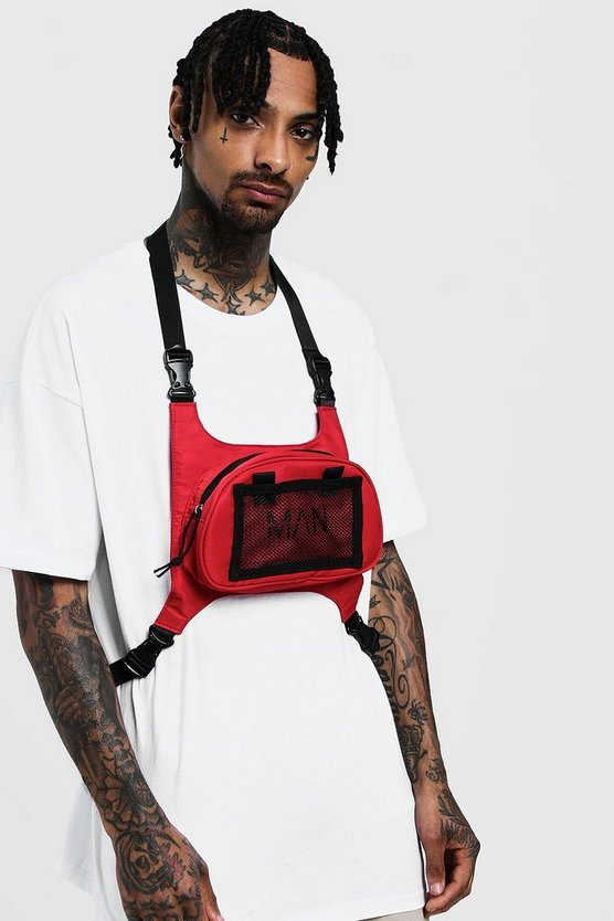Mens Red MAN Chest Rig Bag