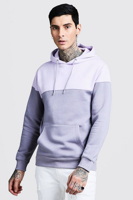 Orchid Colour Block Over The Head Hoodie