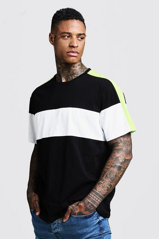 Mens Black Loose Fit Colour Block Panelled Tee
