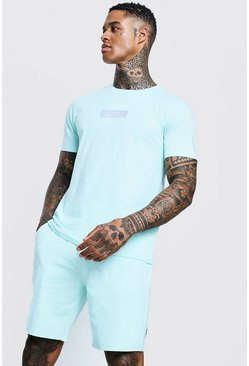 Mens Aqua Reflective MAN Box T-Shirt & Short Set