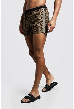 Mens Brown Animal Print Swim Short With Side Tape