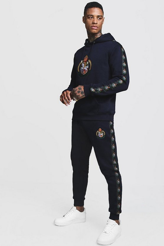 9c52237191613 Shoptagr | Herald Man Hooded Tracksuit With Side Tape by Boohoo Man