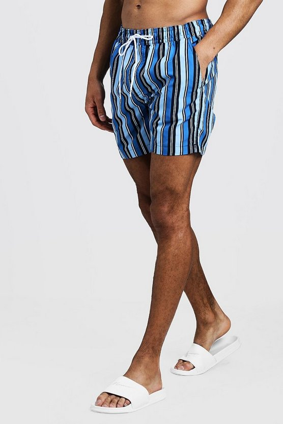 Mens Navy Mid Length Multi Stripe Swim Short