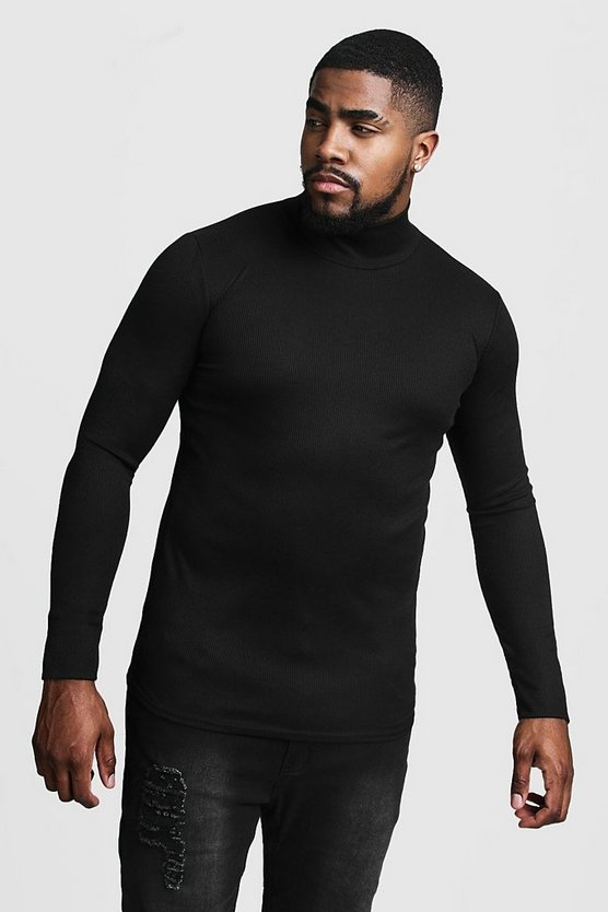 Mens Black Big & Tall Ribbed Turtle Neck Jumper