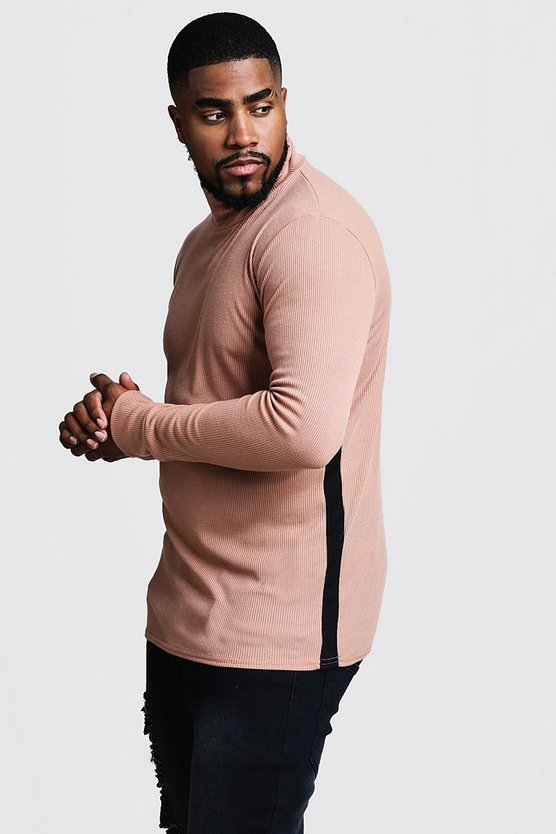 Camel Big & Tall Ribbed Turtle Neck Jumper