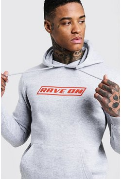 Mens Grey Rave On Print Slogan Over The Head Hoodie