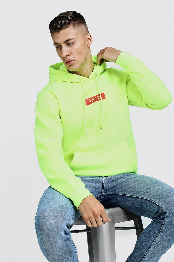 Mens Green Man Red Box Neon Hoodie