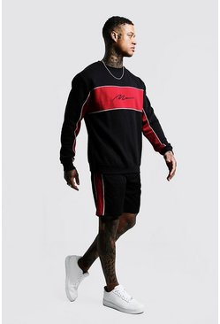 Mens Black MAN Signature Contrast Panel Short Tracksuit