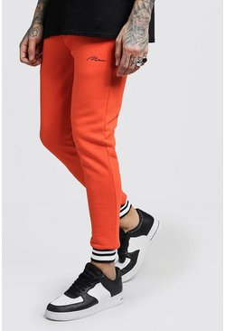 Mens Orange MAN Signature Skinny Joggers With Rib