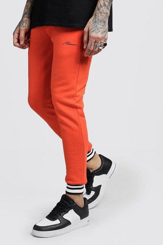 MAN Signature Skinny Fit Jogginghose mit Rippenstruktur, Orange, Herren