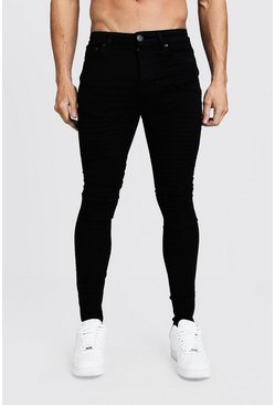 Mens Black Super Skinny Distressed Biker Jeans With Zip Hem