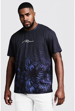 Mens Black Big & Tall Faded Floral Print MAN T-Shirt