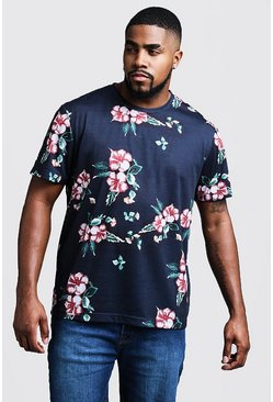 Mens Navy Big & Tall Floral Print T-Shirt