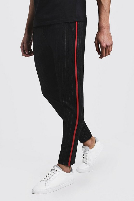 Mens Black Pinstripe Smart Taped Cropped Jogger